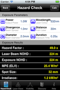 Laser Show Safety App results page